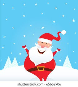 Happy Santa Claus with falling snow and trees. Cute christmas Santa in red costume. Vector Illustration.