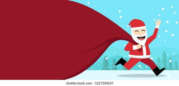 Happy Santa Claus with gift bag at outdoor, vector