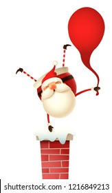 Happy Santa Claus with gifts bag standing on one hand on the chimney - isolated