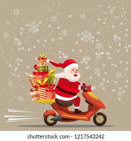 Happy Santa Claus with a gifts box riding a scooter. Christmas holiday theme design element for greeting cards, banners, ads in contemporary cartoon style. Vector lustration