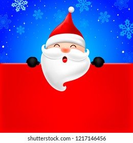Happy Santa Claus holding blank advertisement banner background with copy space. Christmas theme concept. Illustration.