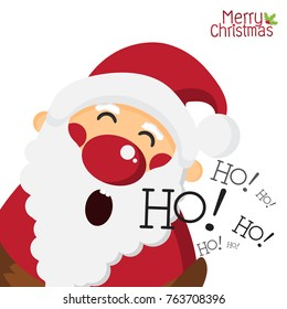 Happy Santa Claus and laughing ho ho on white isolated background, Merry Christmas and holiday concept,design for Greeting Card and Poster,Vector illustration.