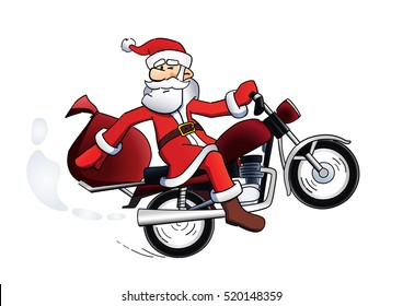 Happy Santa Claus on red motorbike template vector illustration. Santa bike holiday card