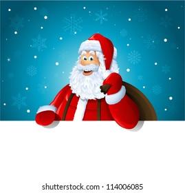 Happy Santa Claus over white blank