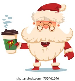 Happy Santa Claus with paper coffee cup. Vector Christmas cartoon illustration isolated on white background.
