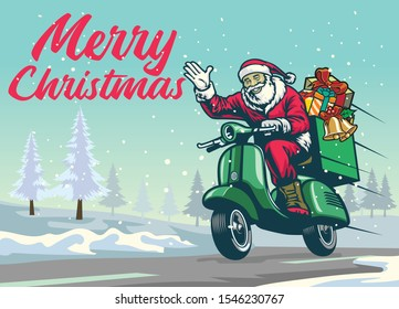 happy santa claus riding vintage scooter motorcycle of christmas winter