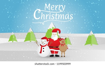 Happy Santa Claus with snowman and reindeer on winter background, Merry Christmas. Vector illustration