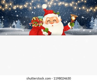 Happy Santa Claus standing behind a blank sign. Cartoon Santa Claus character with gift bag full of gift boxes, jingle bell and white copy space. Holiday winter landscape with firs, light, snow