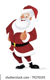 happy santa claus with thumb up on white background