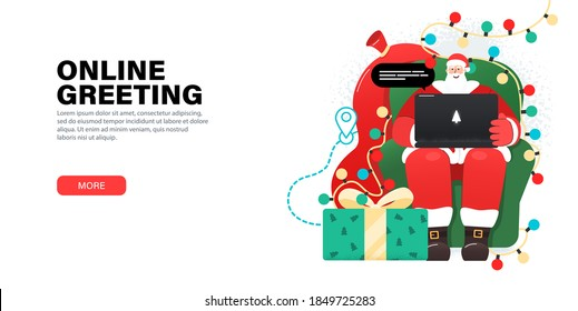 Happy Santa Claus working with laptop in cozy, armchair, takes orders, greeting online, checks mail or Answering on children's requests via laptop. Landing page with gifts, garlands around Santa.