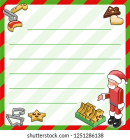 Happy Santa and lots of christmas cookies and cutters, decorated with chocolade and icing (template, framed and lined for your own text)
