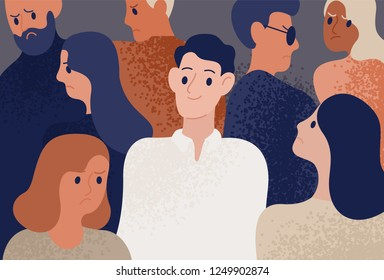 Happy and satisfied young man surrounded by depressed, unhappy, sad and angry people. Smiling person in crowd. Funny cheerful guy and society. Colorful vector illustration in flat cartoon style.