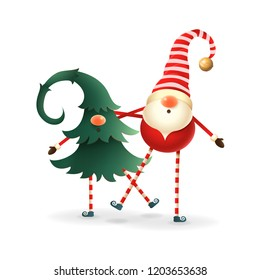 Happy Scandinavian Gnomes friends celebrate Winter Solstice and Christmas