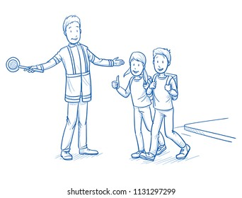Happy school boy and girl, showing thumb up, while crossing street with traffic warden. Concept for safe way to school. Hand drawn line art cartoon vector illustration