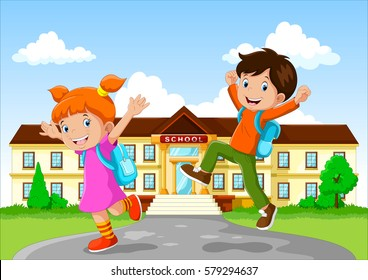 Happy school children with backpack on school building background