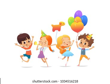 Happy school children with the balloons and birthday hats joyfully jumping against white background. Birthday party vector illustration for website banner, poster, flyer, invitation. Isolated.