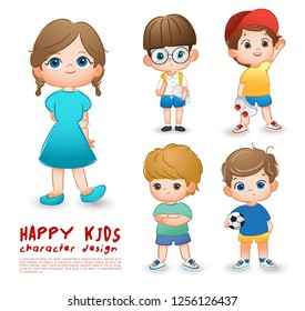 Happy school children isolated on white background : Vector Illustration