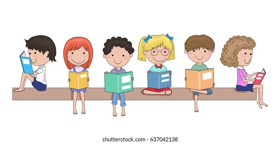 Happy school children reading books in their hands cartoon