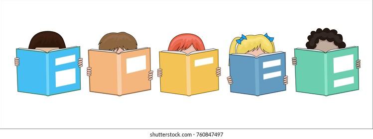 Happy school children reading Large books in their hands cartoon