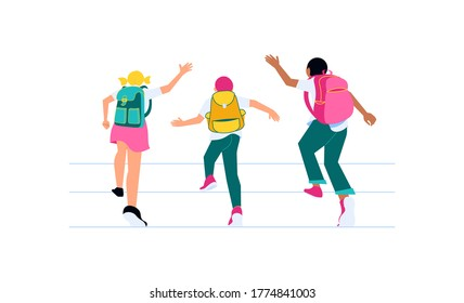 Happy school children running to study. Classmates with backpacks back view isolated on white. Welcome back to school concept. Flat Art Vector illustration