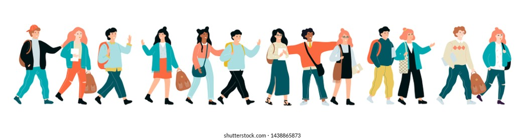 Happy school children standing together in a row. Kid with backpack. Education and learning concept. Isolated vector illustration in cartoon style