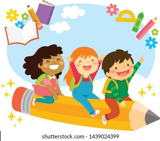 Happy school kids riding a flying pencil