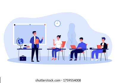 Happy school students sitting at desk in classroom. Girls and guys listening to lecture at college class. Vector illustration for audience, lesson, education, teacher job concept