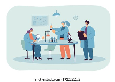 Happy scientist making research in laboratory isolated flat vector illustration. Cartoon medical students in white coats conducting chemical test. Chemistry and science concept