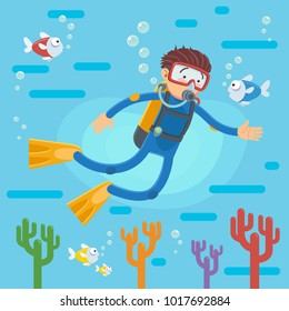 Happy scuba diver swimming over the coral reef with fishes, A vector illustration of a scuba diver diving in the ocean
