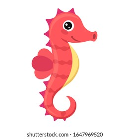 Happy seahorse cartoon vector illustration on white background