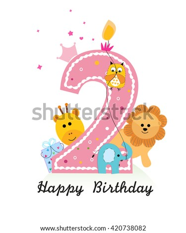 Happy Second Birthday With Animals Baby Girl Greeting Card Vector