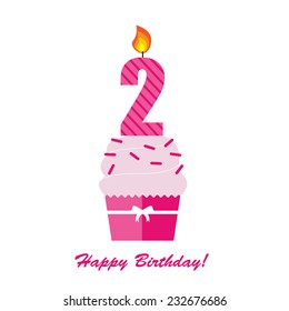 Happy Second Birthday Anniversary card with cupcake and candle  in flat design style, vector illustration