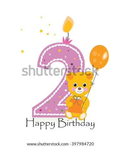 Happy second birthday candle baby birthday stock vector royalty happy second birthday candle baby birthday greeting card with teddy bear vector background m4hsunfo