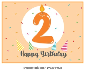 Happy second birthday. Cute background for 2 years old babies. Beautiful card for 2nd birthday. Number two candle in a spotlight. Birthday confetti and party hats. Happy birthday text.