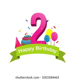 Happy Second Birthday Greeting With Cake Balloons And Confetti Vector Illustration