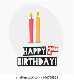Happy Second Birthday With Two Candles Cute Design