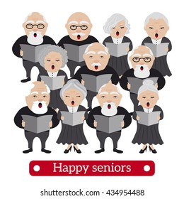 Happy senior adults singing from song books