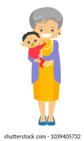 Happy senior caucasian white grandmother holding cute little baby grandson with pacifier. Vector cartoon illustration isolated on white background.