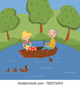 Happy senior couple rowing a boat on lake vector Illustration