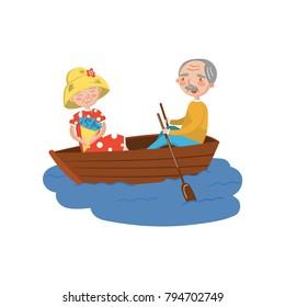Happy senior couple rowing a boat on lake cartoon vector Illustration