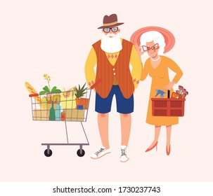 Happy senior couple with shopping cart and basket after shopping. Adult couple shopping lifestyle. Mature people shopping together at the store.