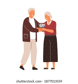 Happy senior family couple hugging. Cute elderly husband giving a bouquet of flowers to wife on romantic date. Lovely scene with old man and woman. Flat vector cartoon illustration isolated on white