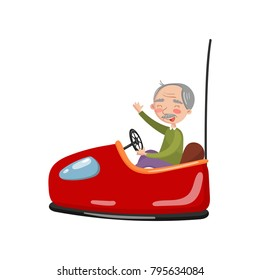 Happy senior man riding electric bumper car or dodgem car in amusement park cartoon vector Illustration
