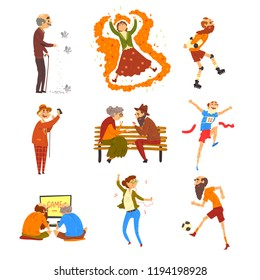 Happy senior people having fun set, elderly men and women cartoon characters leading active lifestyle, social concept vector Illustration on a white background