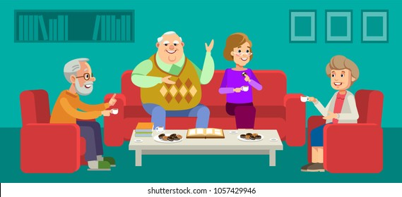 Happy seniors couple enjoying conversation with female guests over cup of coffee at home. Vector illustration in flat style.