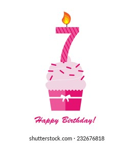 Happy Seventh Birthday Anniversary Card With Cupcake And Candle In Flat Design Style Vector Illustration