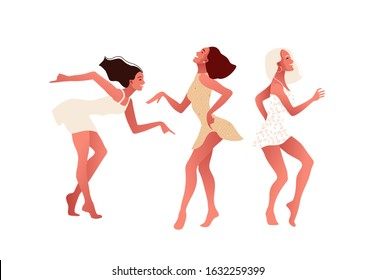 Happy sexy girls or friends dancing and laughing. International Women s Day. 8 March. Vector illustration, template with beautiful women for greeting card, poster or flyer.