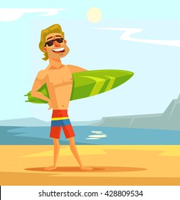 Happy sexy surfer man with surfing board. Vector flat cartoon illustration
