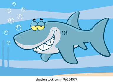 Happy Shark Cartoon Character. Vector Illustration.Jpeg version also available