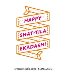 Happy Shat-Tila Ekadashi day emblem isolated vector illustration on white background. 23 january indian religious holiday event label, greeting card decoration graphic element